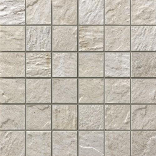 Mozaiek Wit marmer met zwart grijs gemixed hardsteen Sticks